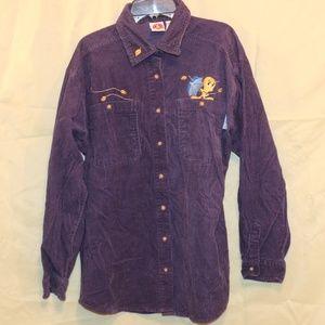 Loony Tunes Tweety Bird L Corduroy Shirt Jacket